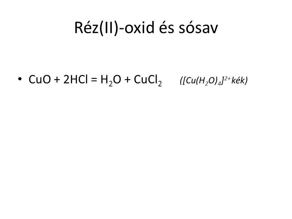 Réz(II)-oxid és sósav CuO + 2HCl = H2O + CuCl2 ([Cu(H2O)4]2+ kék)